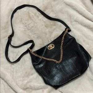 Soft faux croc leather crossbody with gold chain